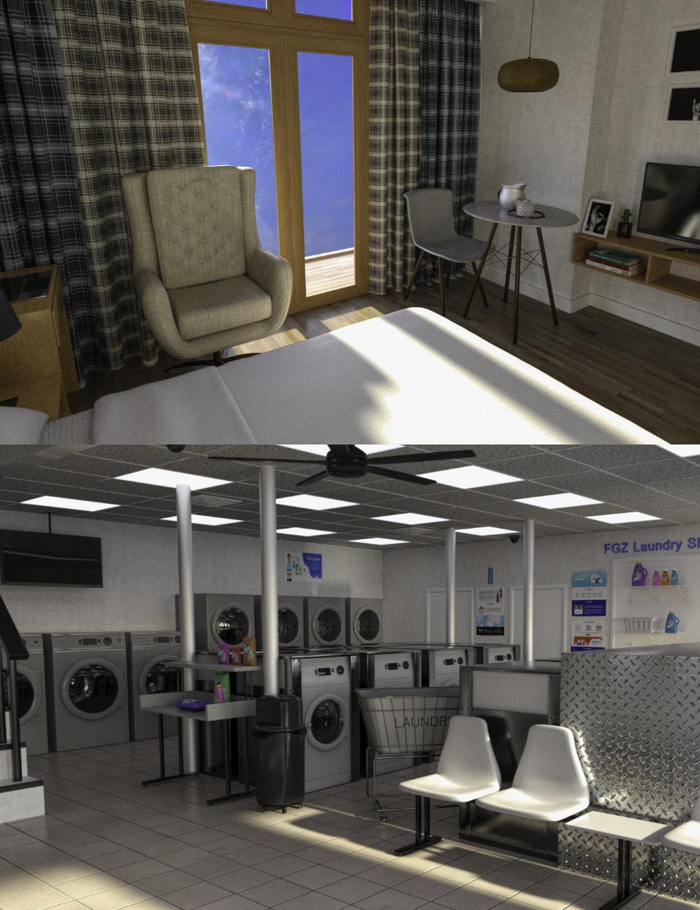 FG Apartment and Laundry Shop by: Fugazi1968PAN StudiosIronman, 3D Models by Daz 3D