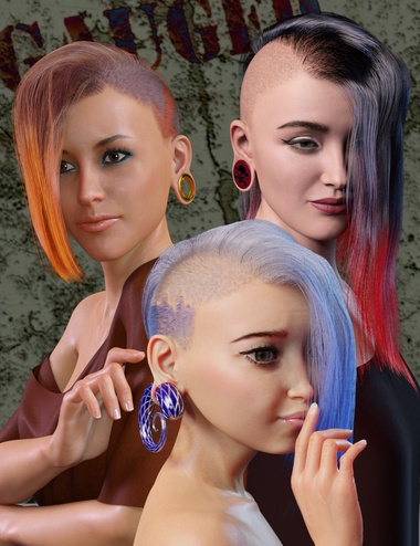 Gauged Ears and Jewelry for Genesis 8.1 Female by: WillDupre, 3D Models by Daz 3D