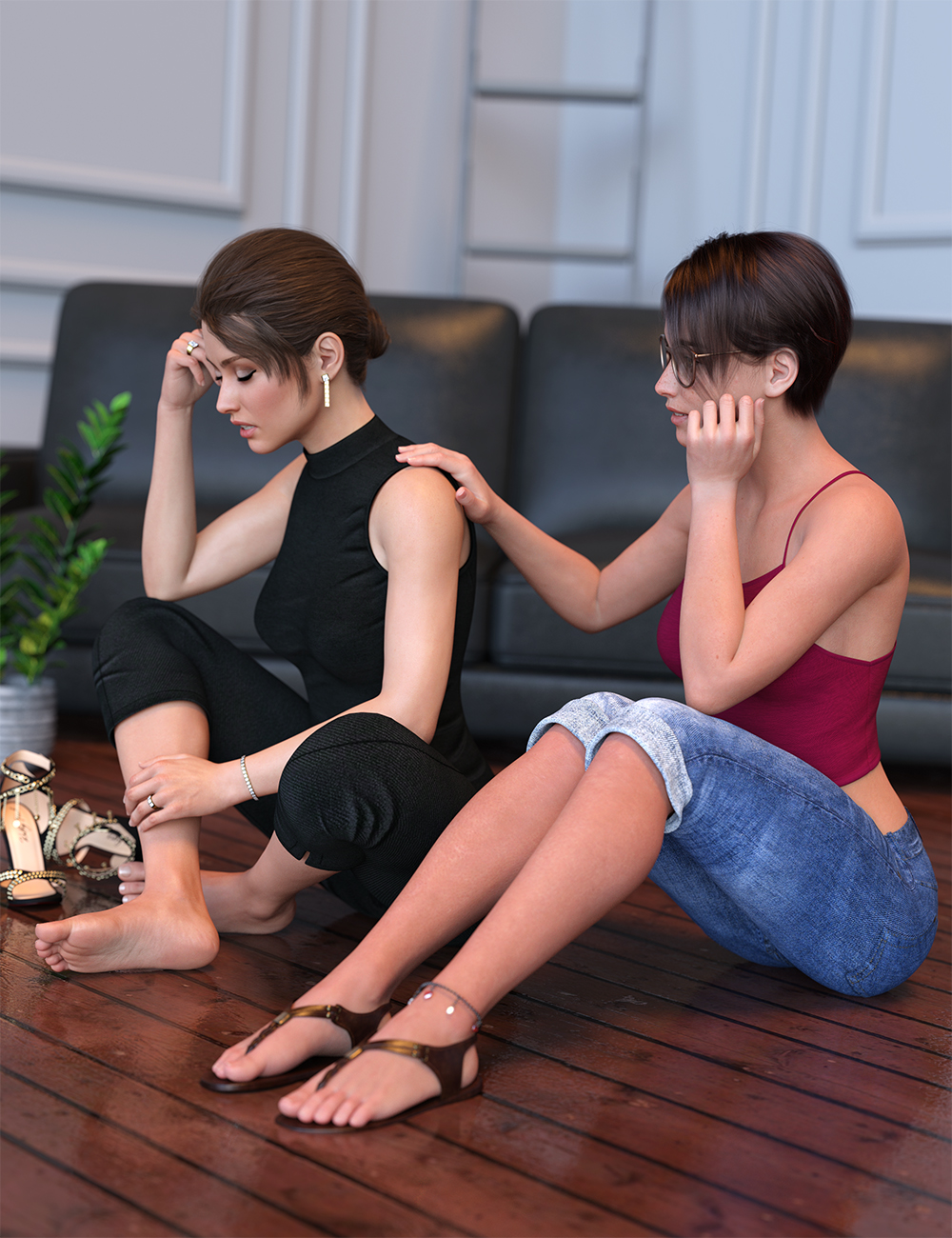 IM Comforting Pose Collection by: Paper TigerIronman, 3D Models by Daz 3D