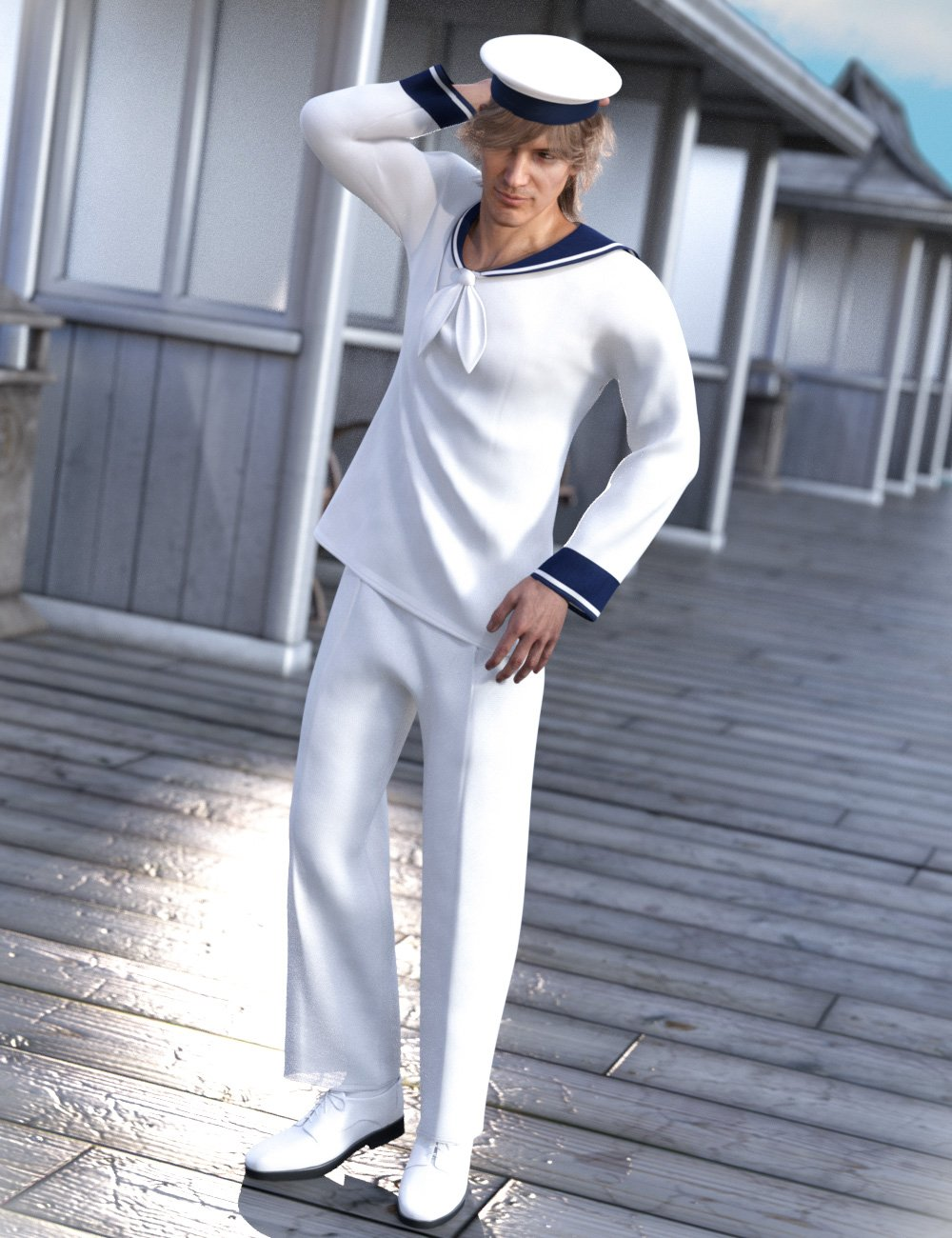 dForce Sailorman Outfit for Genesis 8 Males by: tentman, 3D Models by Daz 3D
