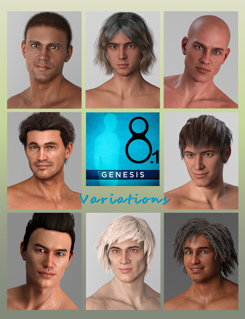 Variations for Genesis 8.1 Male by: Aquarius, 3D Models by Daz 3D