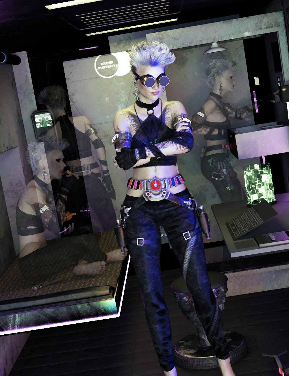 FF's Cyberpunk Apartment Life Poses for Genesis 8 Female by: FeralFey, 3D Models by Daz 3D