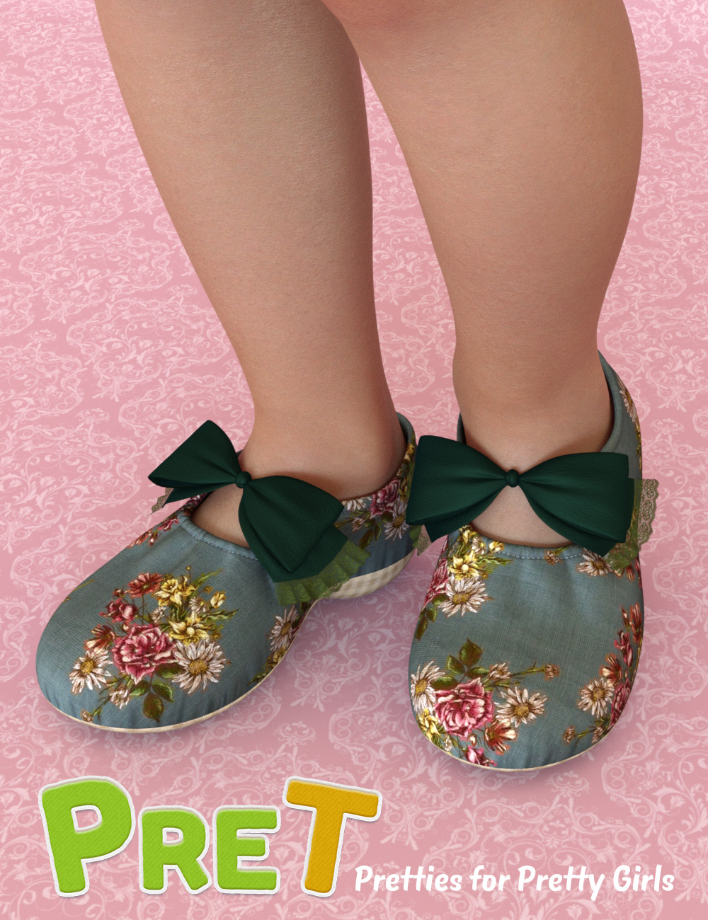 PreT Girls Soft Shoes for Genesis 8 Females by: elleque, 3D Models by Daz 3D