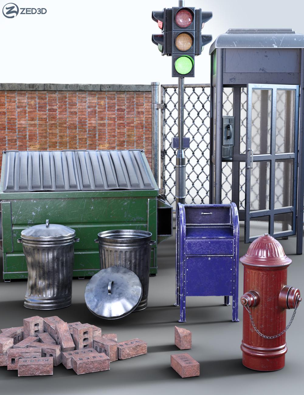 Z Urban Street Scene Essentials by: Zeddicuss, 3D Models by Daz 3D