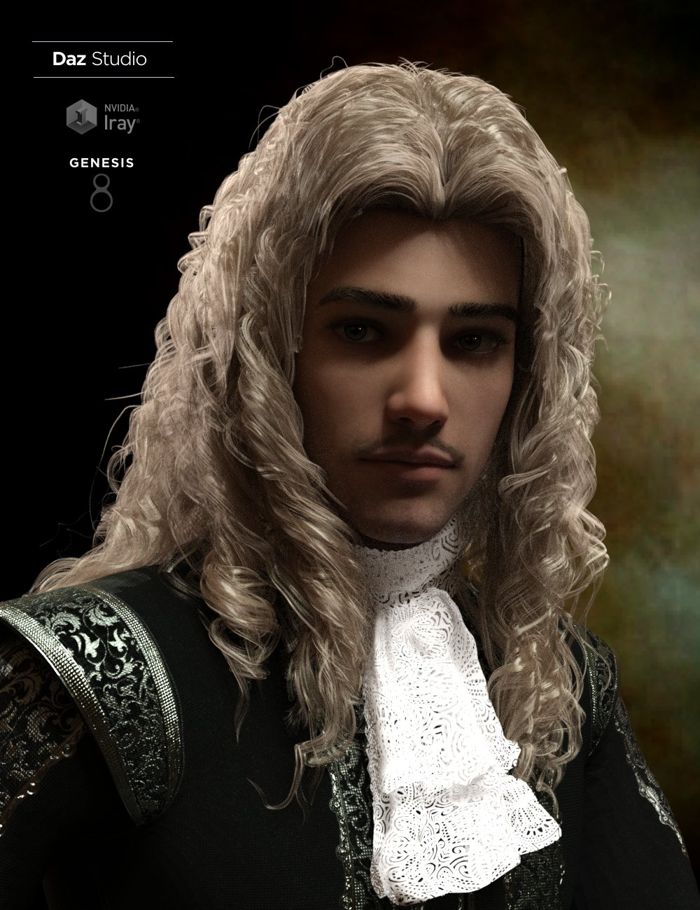 Fouquet Loose Curls Wig and Thin Mustache for Genesis 8.1 Males by: Neftis3D, 3D Models by Daz 3D