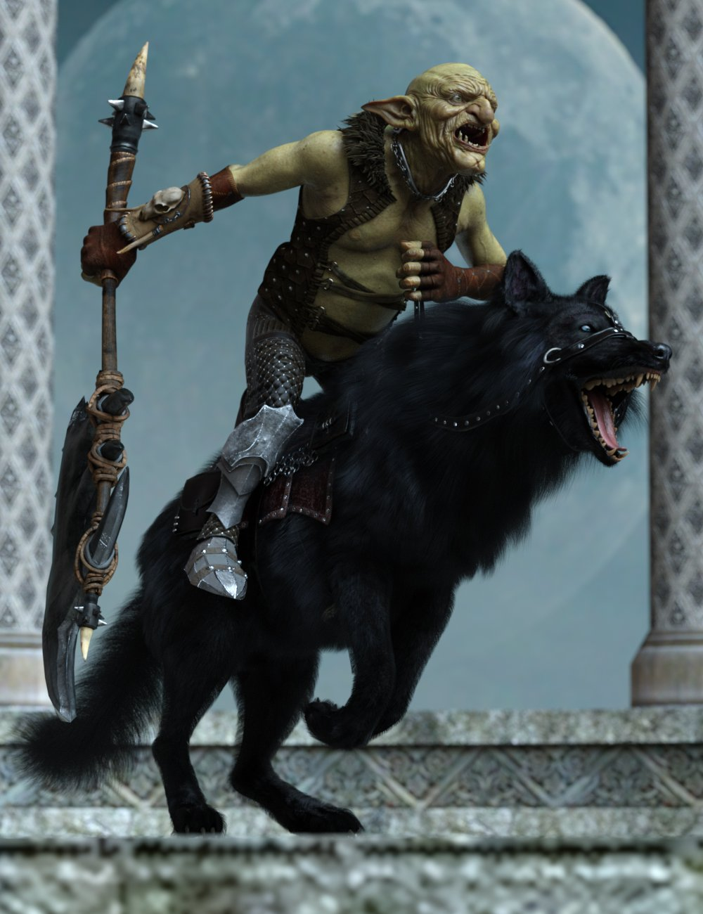 Goblin Rider Poses for War Goblin HD and Dire Wolf by: Ensary, 3D Models by Daz 3D