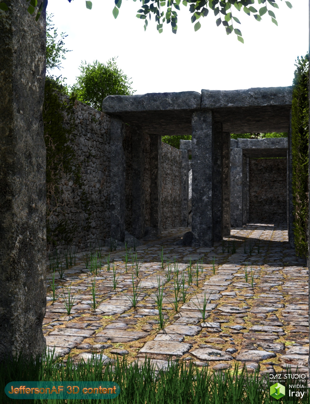 Path Between Walls by: JeffersonAF, 3D Models by Daz 3D