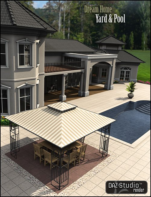 Dream Home: Yard and Pool by: , 3D Models by Daz 3D