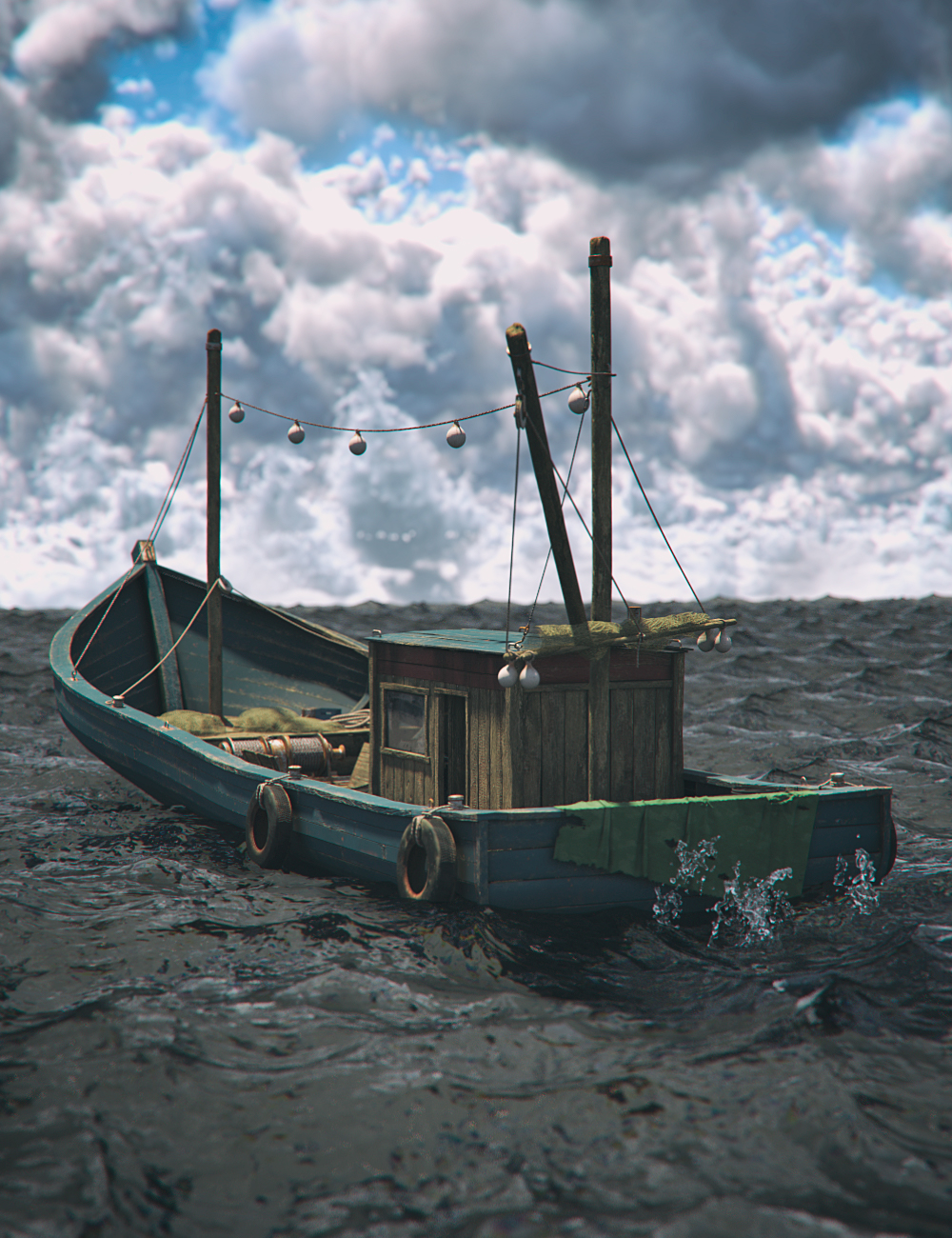 Wood Fishing Boat by: Mely3D, 3D Models by Daz 3D