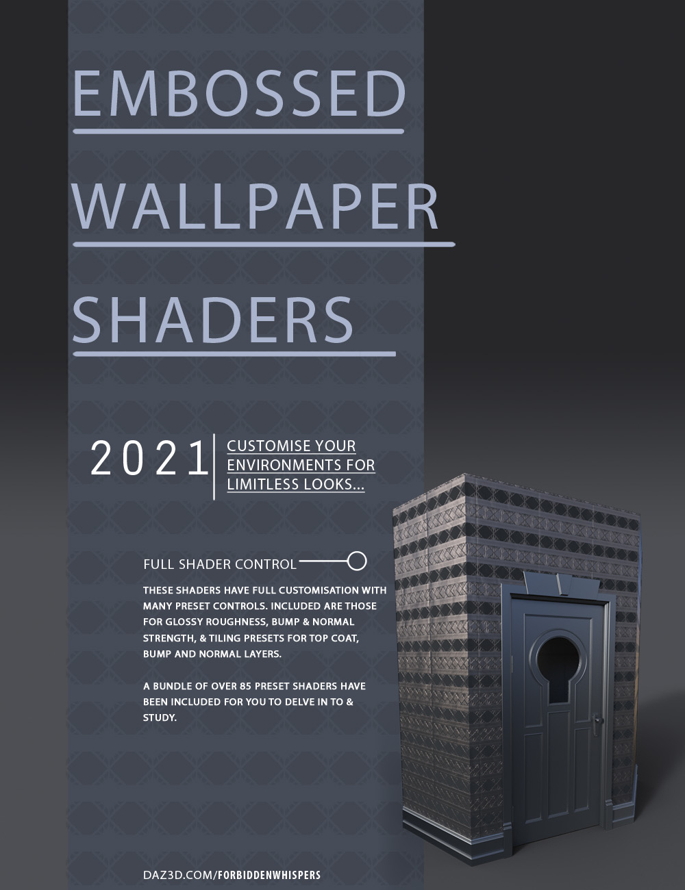 Embossed Art Deco Wallpaper Shaders by: ForbiddenWhispers, 3D Models by Daz 3D