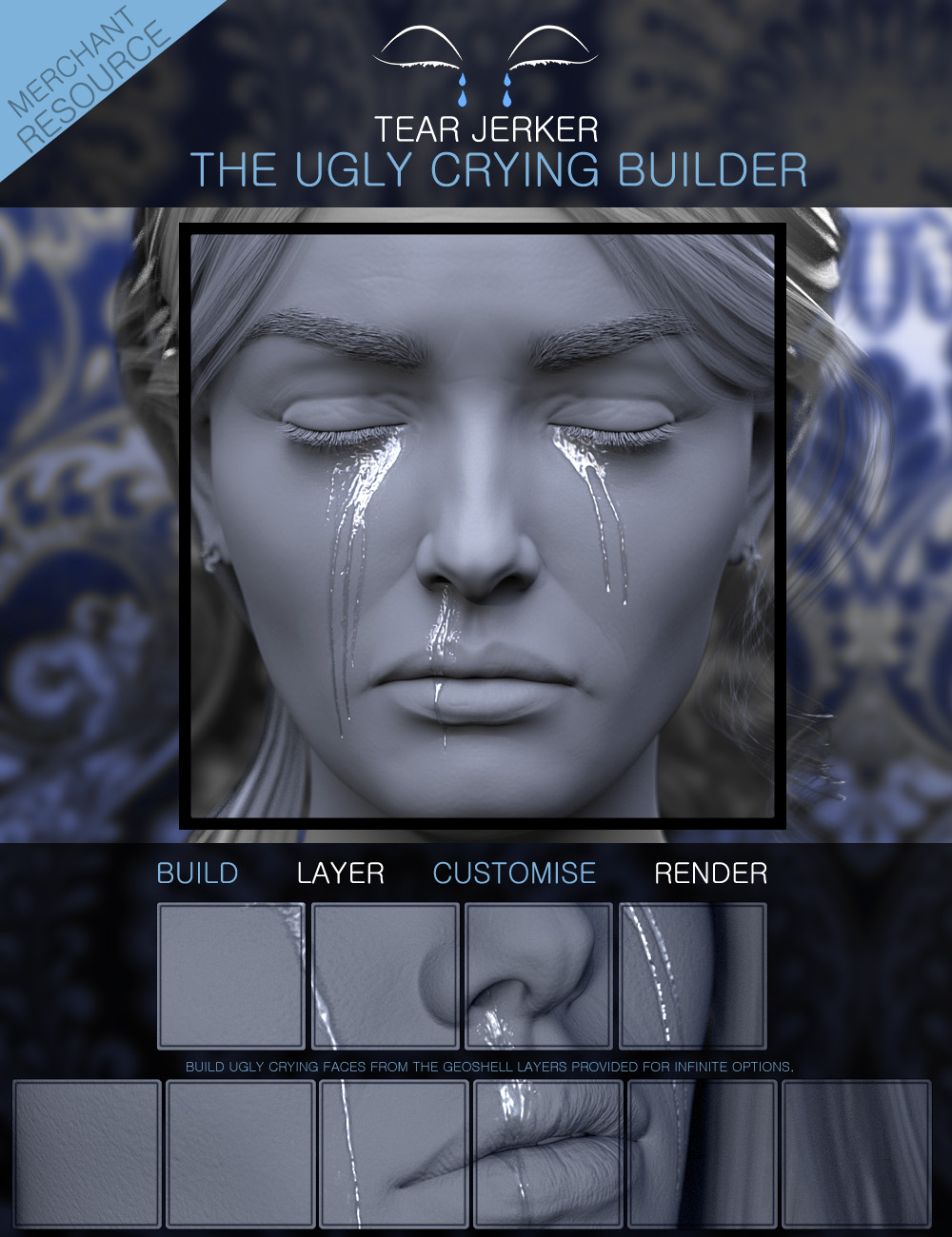 Tear Jerker the Ugly Crying Builder for Genesis 3, 8 and 8.1 Females Merchant Resource by: ForbiddenWhispers, 3D Models by Daz 3D