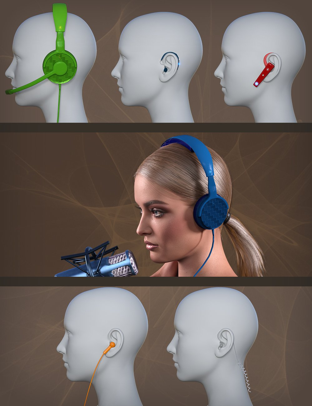 Headset for Genesis 8 by: MikeD, 3D Models by Daz 3D
