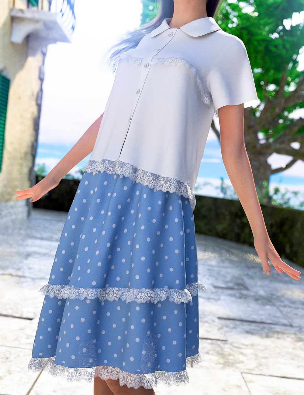 dForce Frilled Blouse and Skirt for Genesis 8 Female by: junuehara, 3D Models by Daz 3D