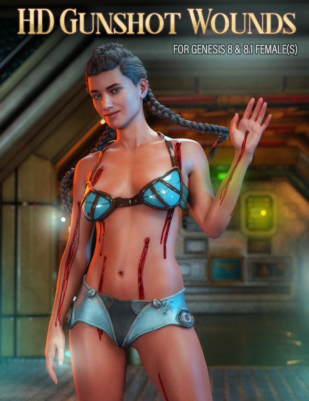 HD Gunshot Wounds for Genesis 8 and 8.1 Females by: FenixPhoenixEsid, 3D Models by Daz 3D