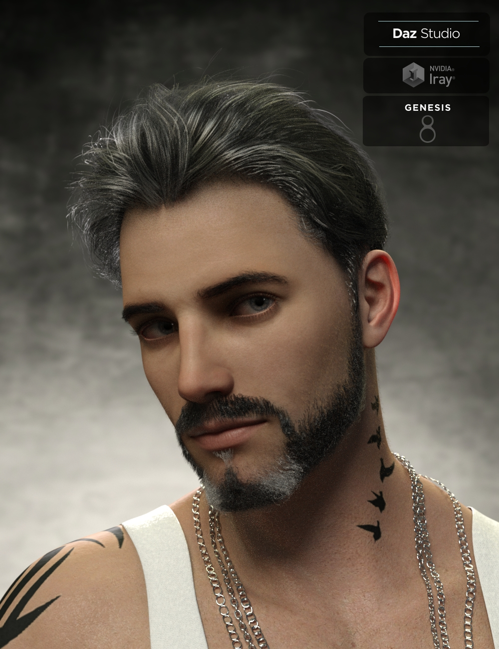 Yoan Mature Hair and Beard for Genesis 8 and 8.1 Males by: Neftis3D, 3D Models by Daz 3D