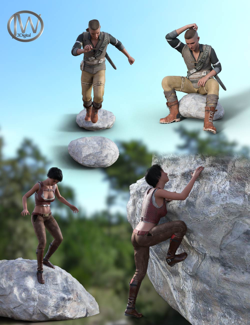 The Rocks Props and Poses for Genesis 8.1 by: JWolf, 3D Models by Daz 3D