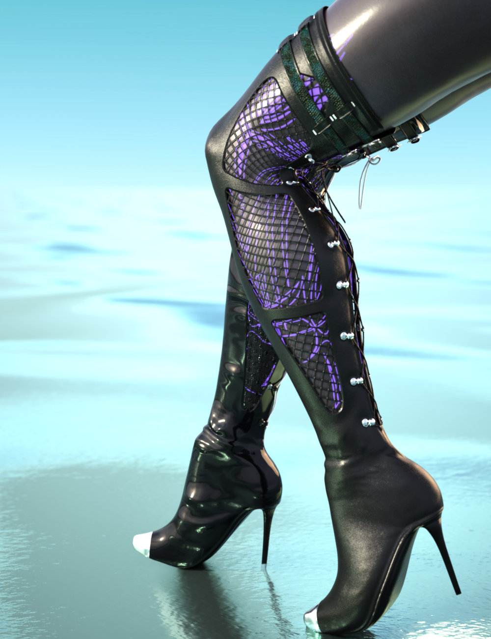 Drow Mercenary Boots for Genesis 8 Females by: SWTrium, 3D Models by Daz 3D