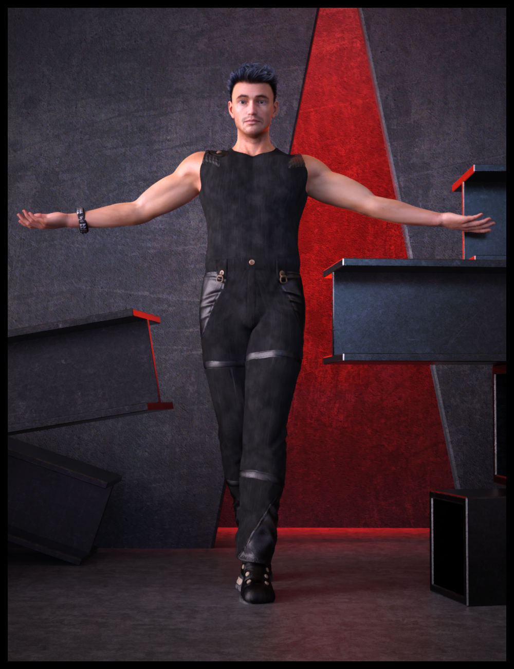 PunkRaveM Outfit for Genesis 8.1 Male by: Nathy, 3D Models by Daz 3D