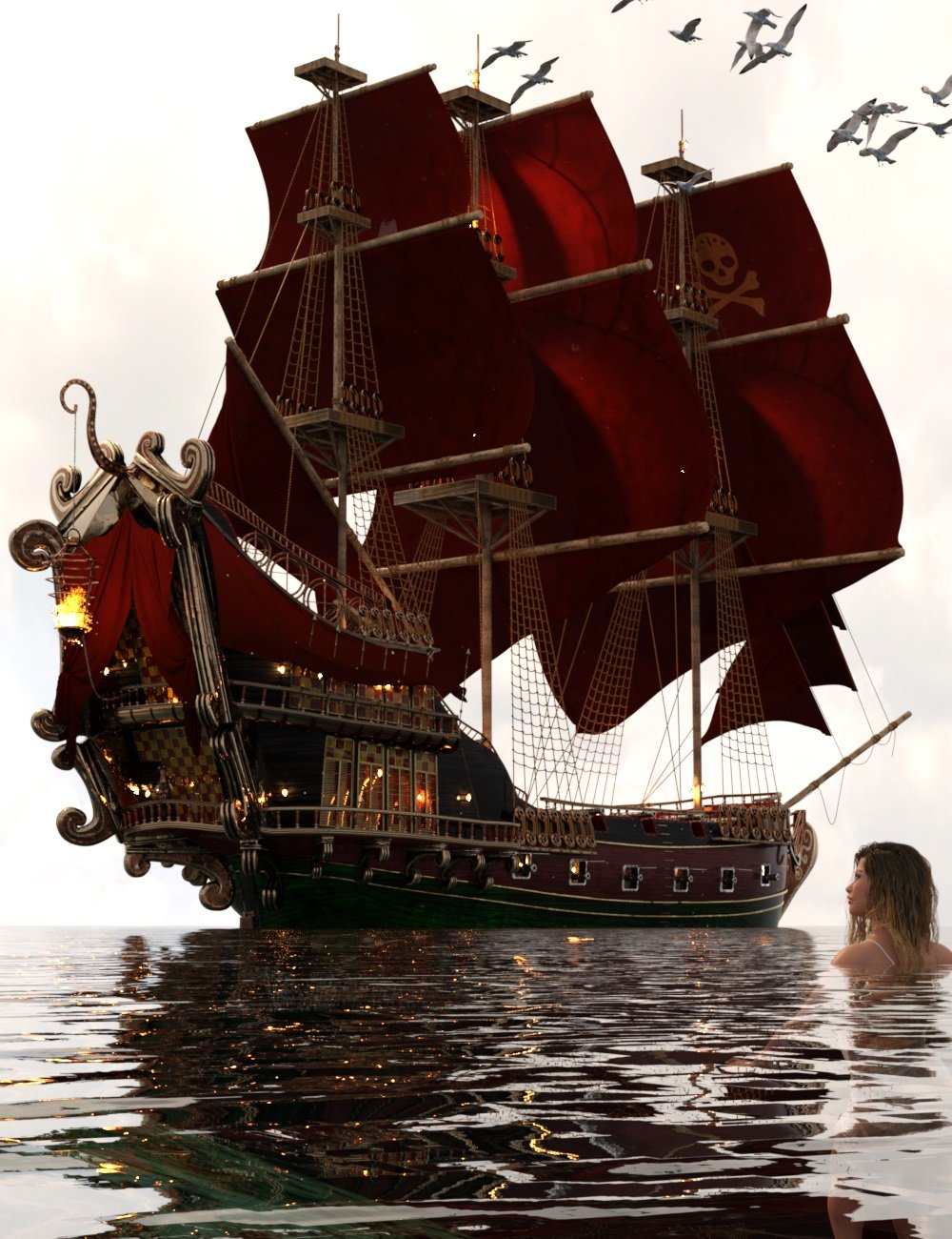 PW Pirate Ship Poseidon by: PW Productions, 3D Models by Daz 3D