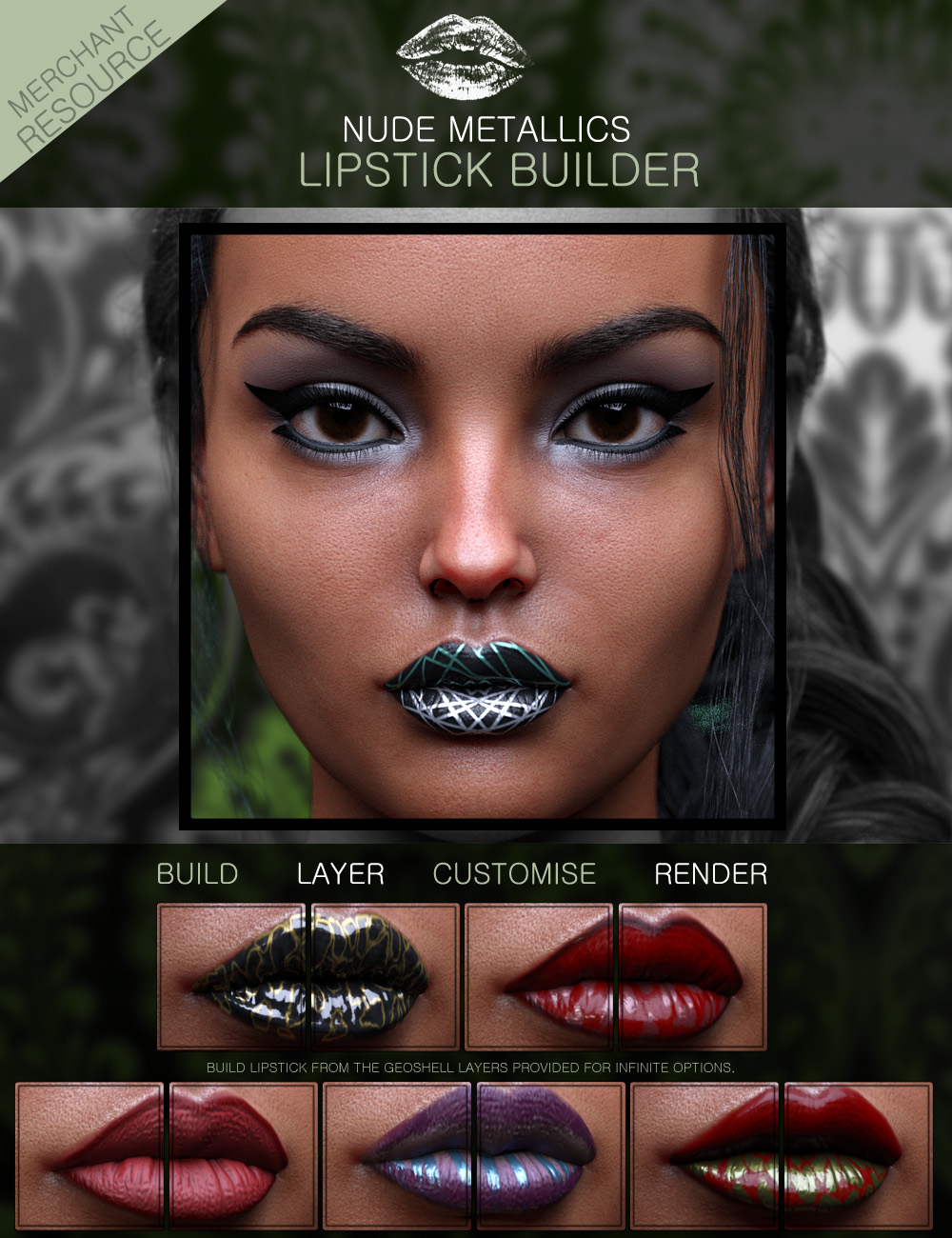 Nude Metallics Lipstick Builder Merchant Resource Genesis 8 Females by: ForbiddenWhispers, 3D Models by Daz 3D