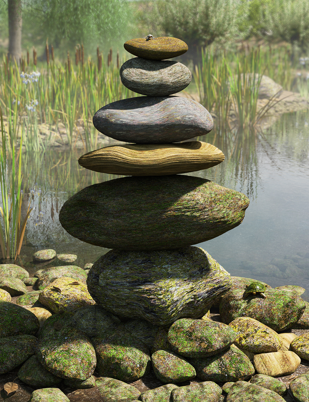 Ancient Stones - Rock'n'Roll and Moss Shaders by: MartinJFrost, 3D Models by Daz 3D