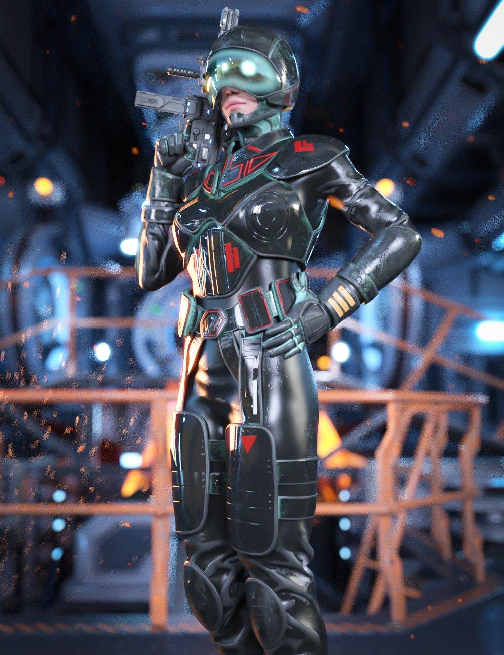 Sci-Fi Heavy Armor for Genesis 8.1 Females by: Yura, 3D Models by Daz 3D