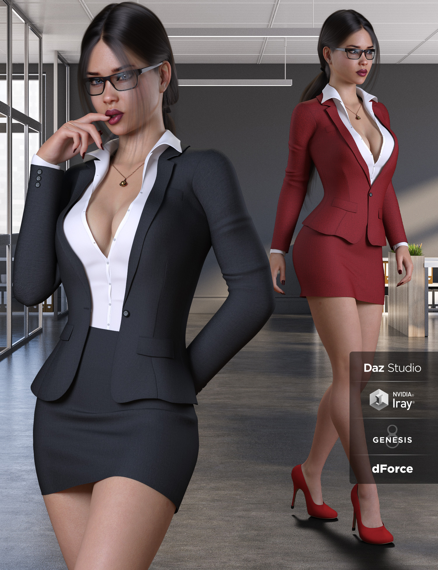 Businesswoman Outfit Set for Genesis 8 and 8.1 Females by: Pretty3D, 3D Models by Daz 3D