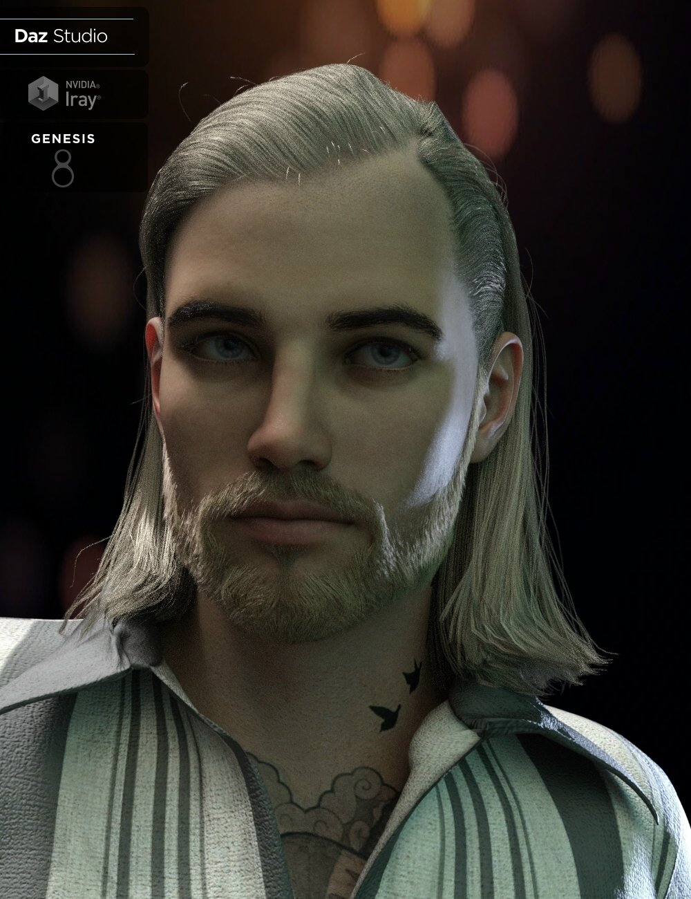 Graig Tough Guy Hair and Beard for Genesis 8.1 Male(s) by: Neftis3D, 3D Models by Daz 3D