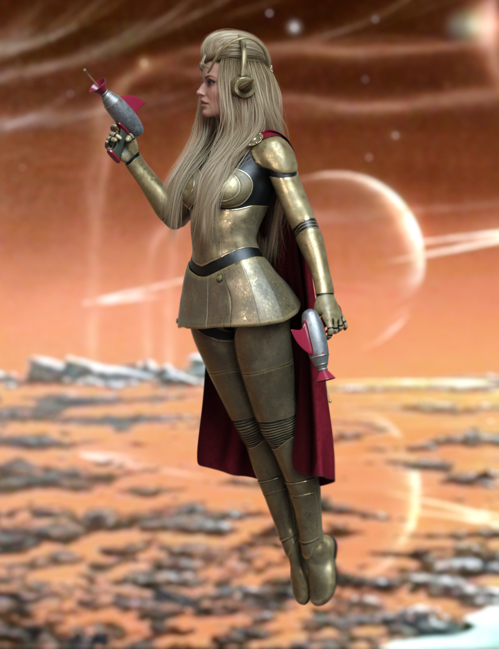 Retro Sci Fi Poses for Genesis 8 and 8.1 Females by: Ensary, 3D Models by Daz 3D