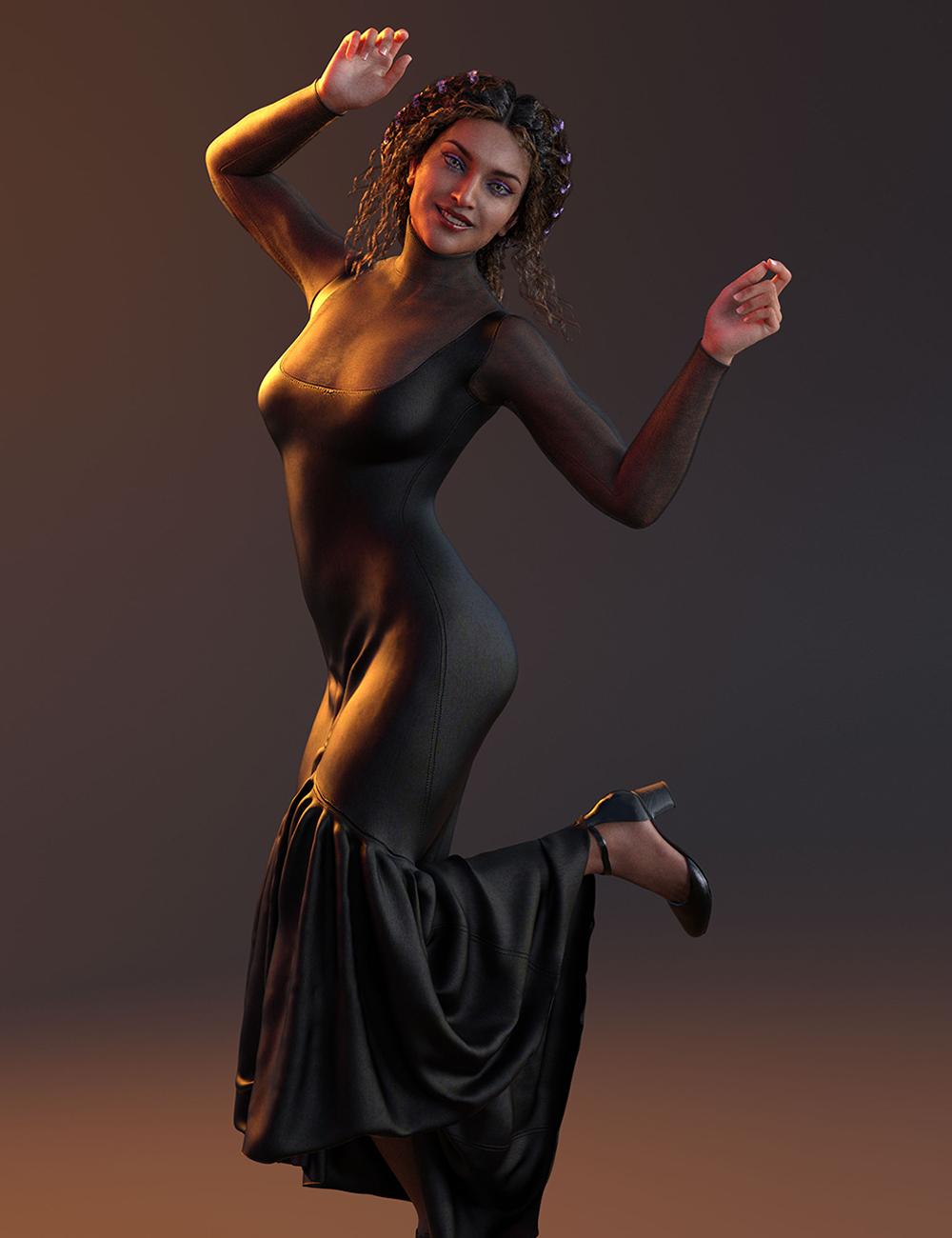 dForce Flare Dress for Genesis 8 Females by: Lyrra MadrilMoonscape GraphicsSade, 3D Models by Daz 3D