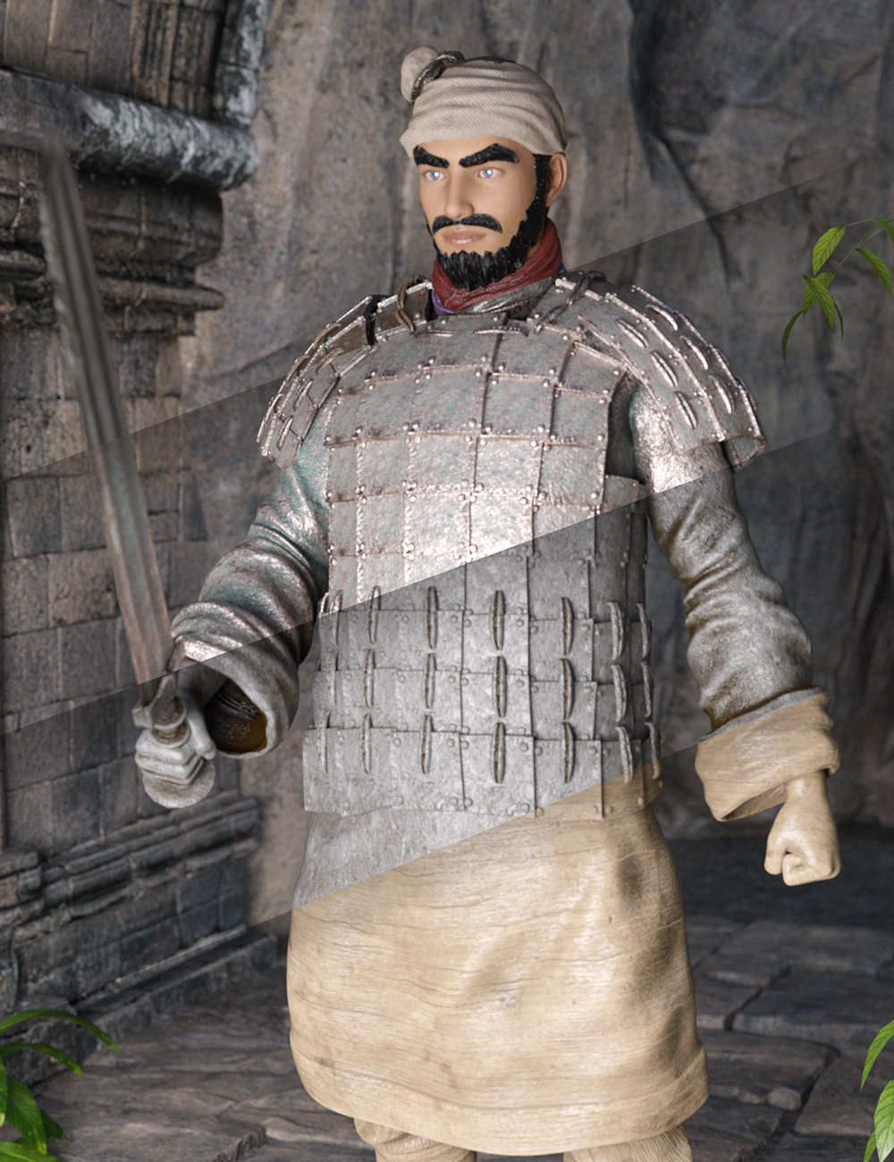 Texture and Weapon Pack for the Action Terracotta Warrior by: Jerry Jang, 3D Models by Daz 3D