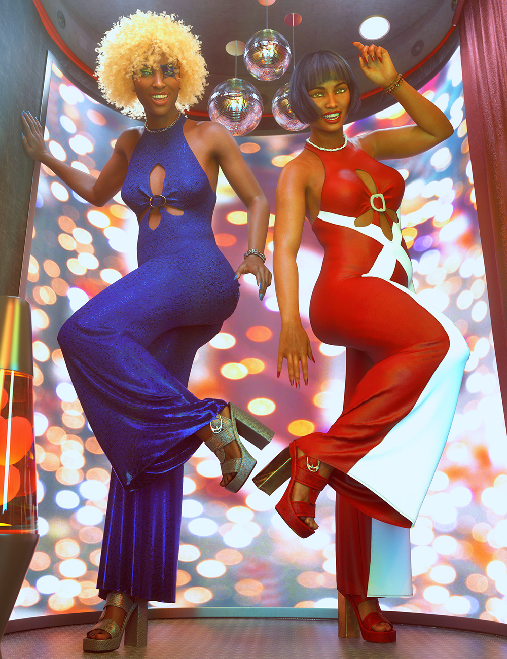 dForce Disco Flare Outfit Textures by: Shox-Design, 3D Models by Daz 3D