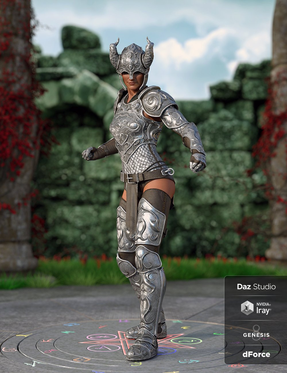 dForce Valiant Armor for Genesis 8 and 8.1 Females by: Cichy3D, 3D Models by Daz 3D