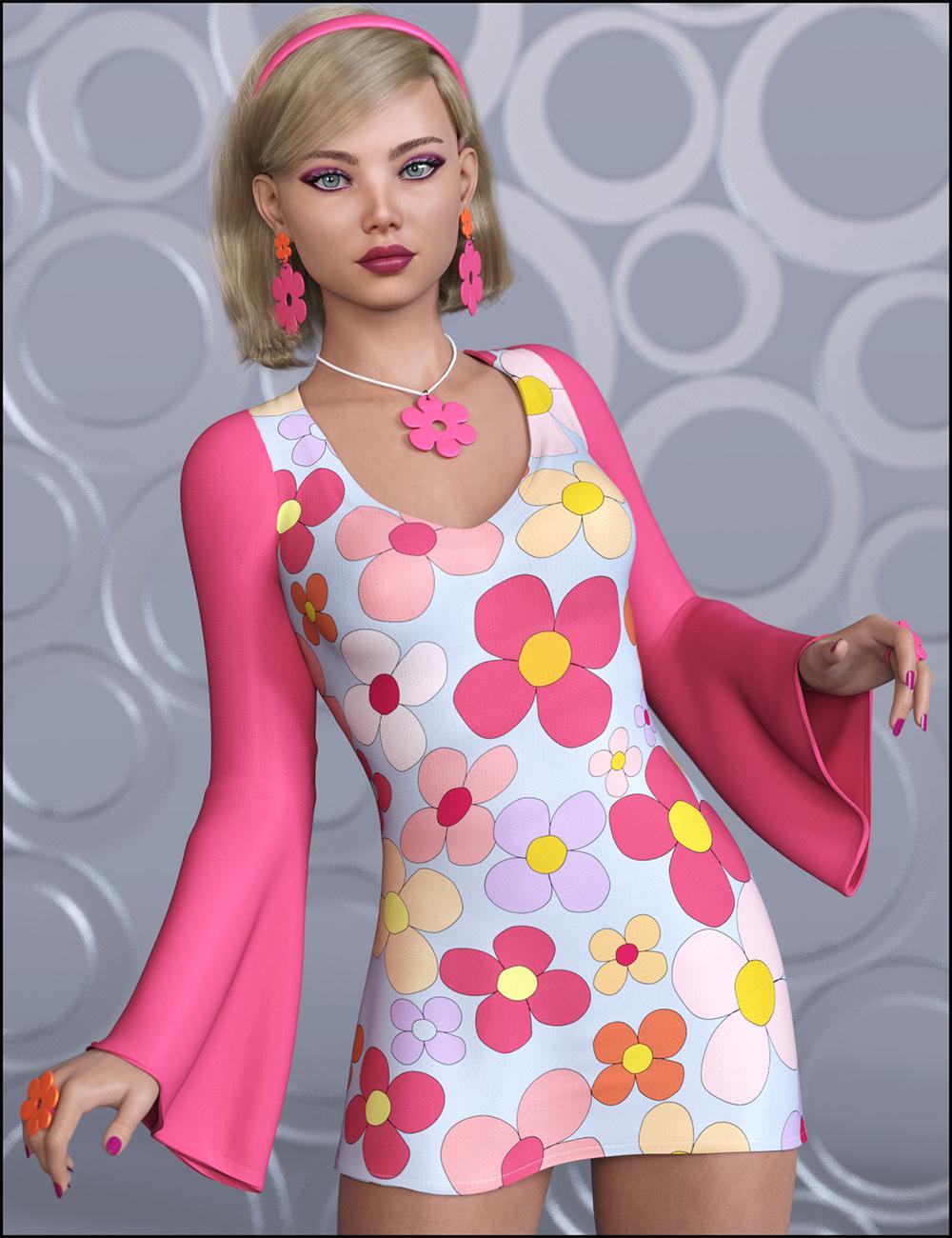 dForce Flower Power Outfit for Genesis 8 Female by: JessaiiDemonicaEvilius, 3D Models by Daz 3D