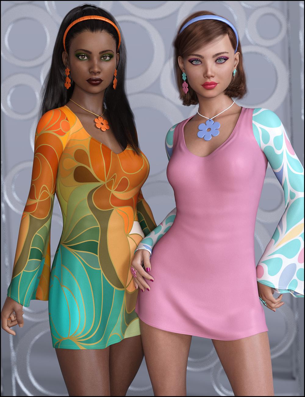 dForce Flower Power Outfit Groovy Textures by: JessaiiDemonicaEvilius, 3D Models by Daz 3D