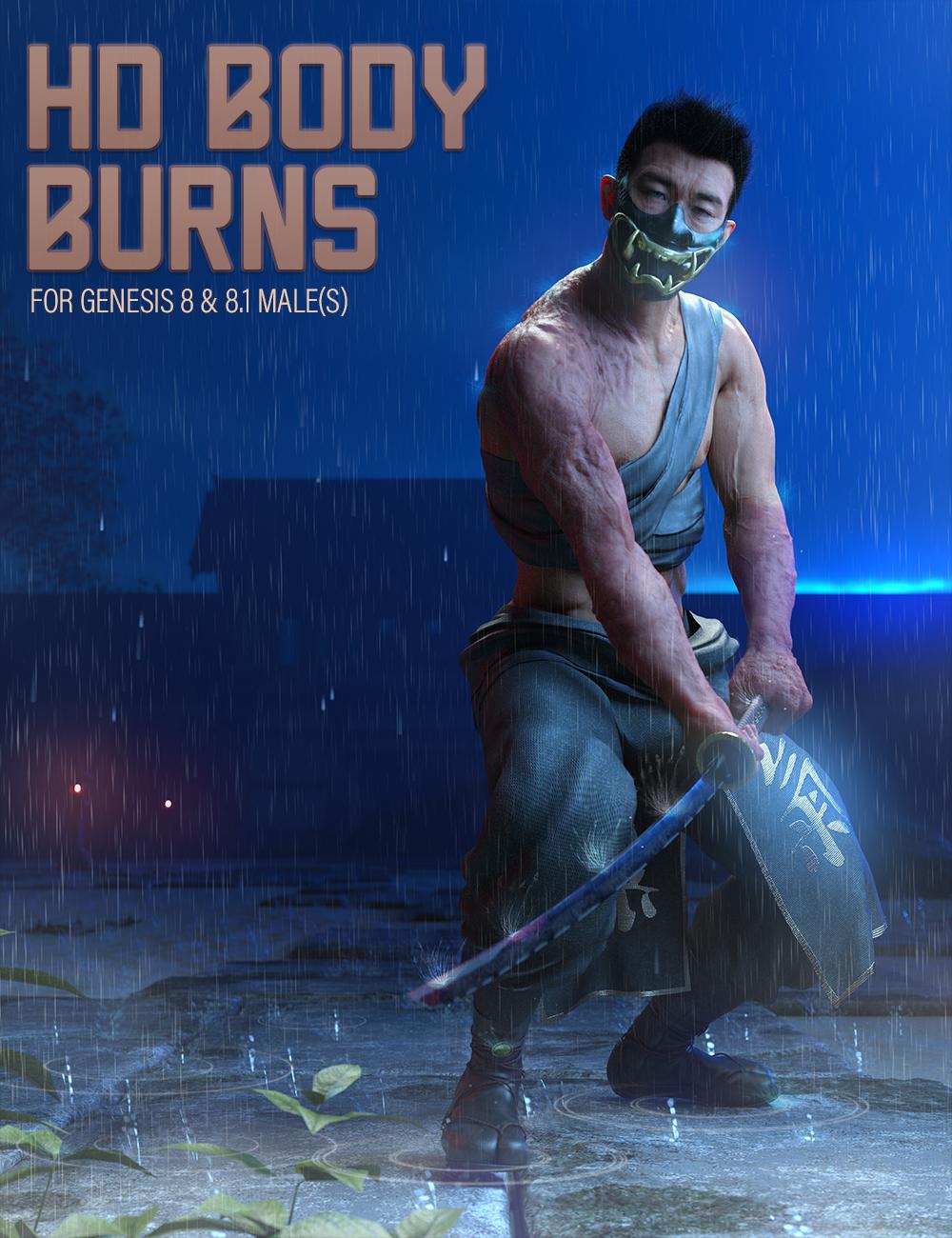HD Body Burns for Genesis 8 and 8.1 Males by: FenixPhoenixEsid, 3D Models by Daz 3D