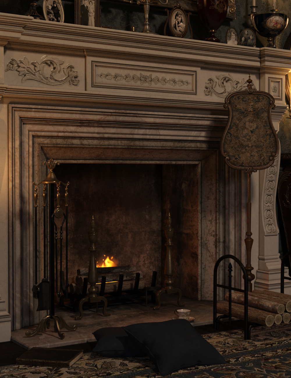 Fireplace Accessories Iray by: LaurieS, 3D Models by Daz 3D