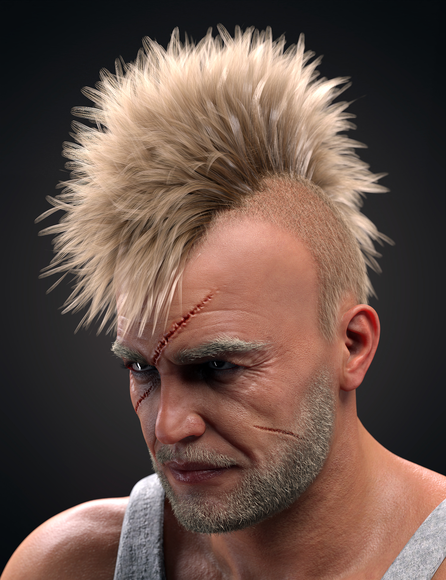 M3D Tough Guy Hair Set Genesis 8.1 Males by: Matari3D, 3D Models by Daz 3D