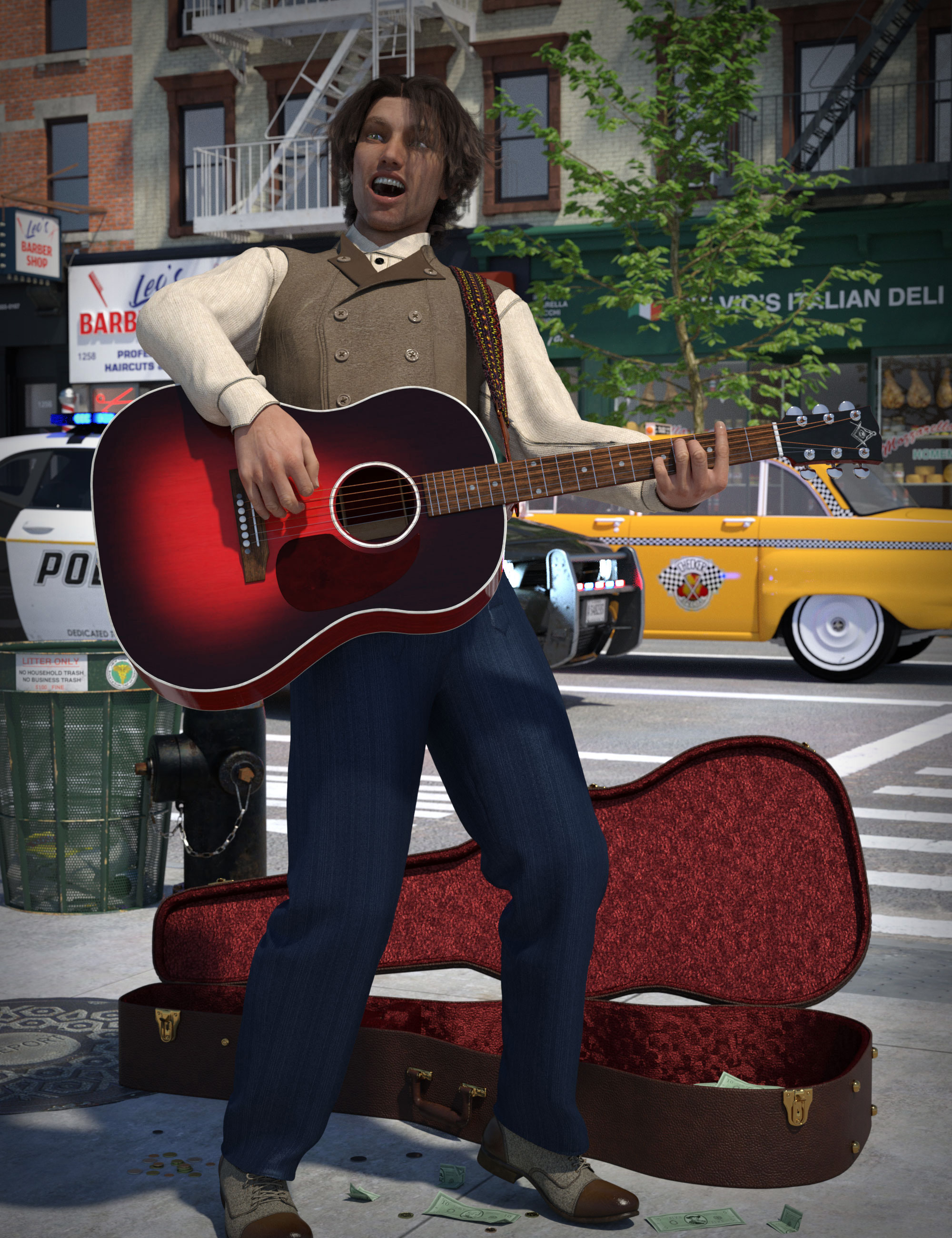 Acoustic Guitar and Poses for Genesis 8 by: The Alchemist, 3D Models by Daz 3D
