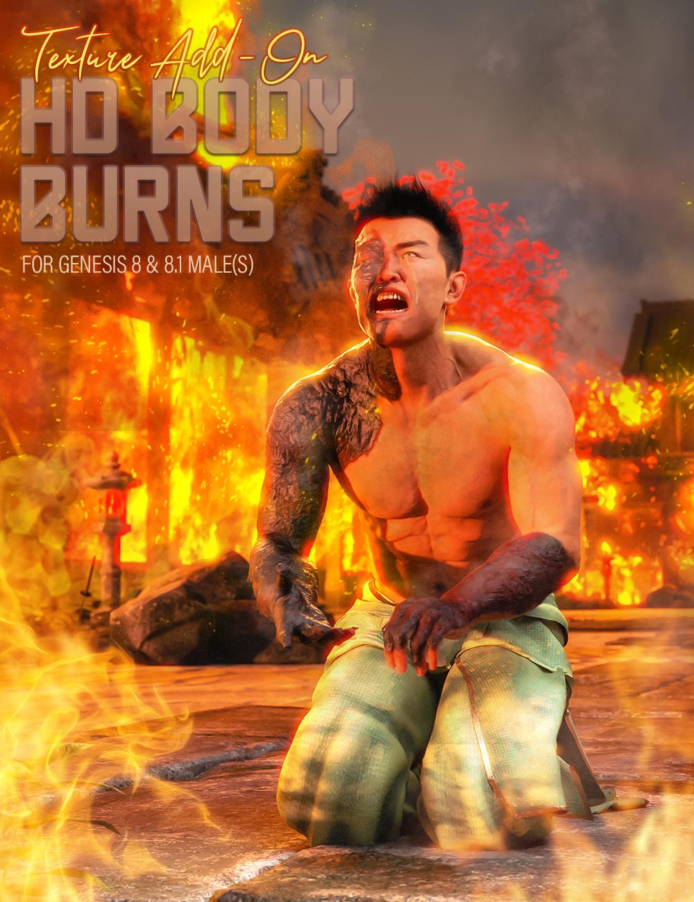 HD Body Burns Add-On for Genesis 8 and 8.1 Males by: FenixPhoenixEsid, 3D Models by Daz 3D