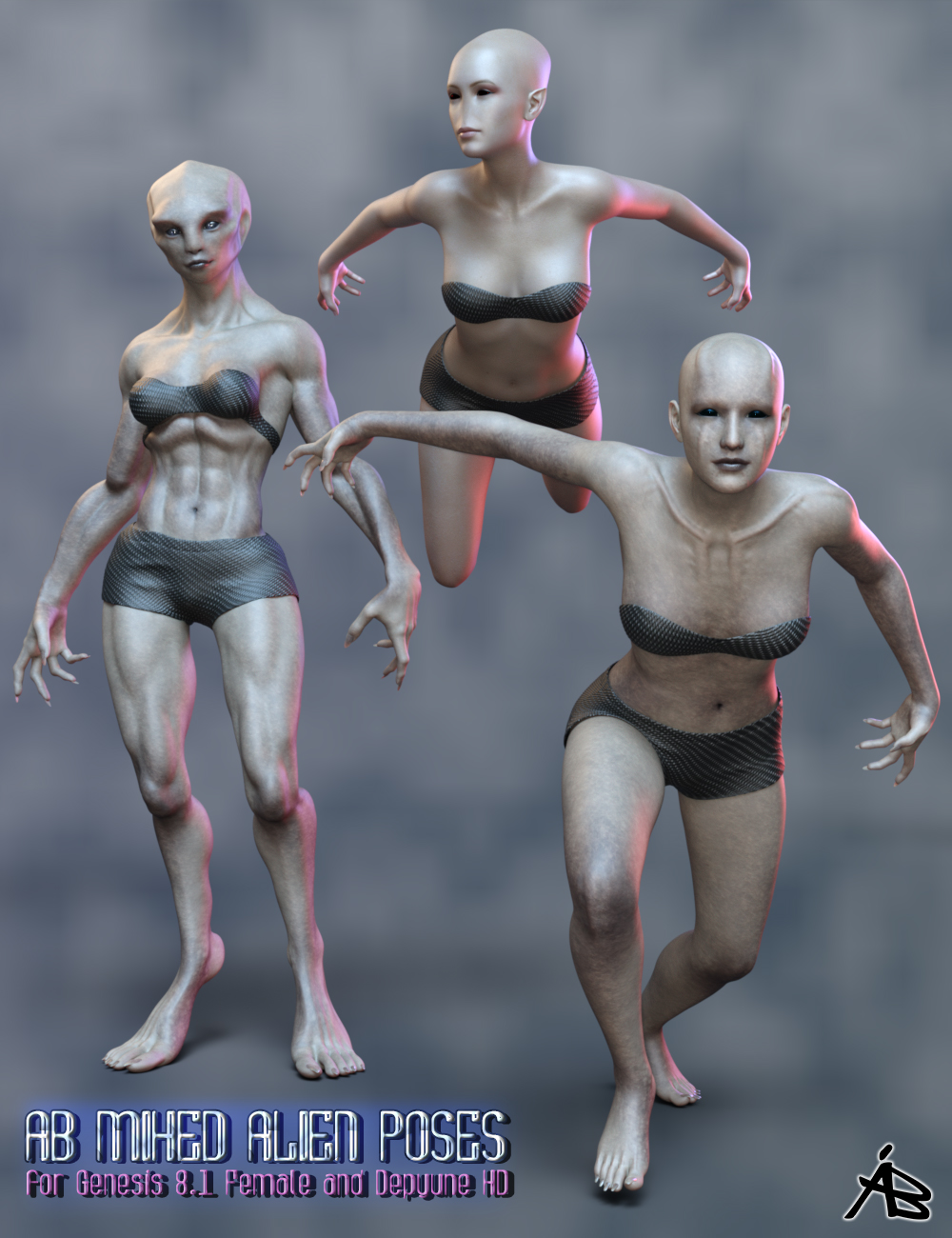AB Mixed Alien Poses for Genesis 8.1 Female and Delpyune HD by: AuraBianca, 3D Models by Daz 3D