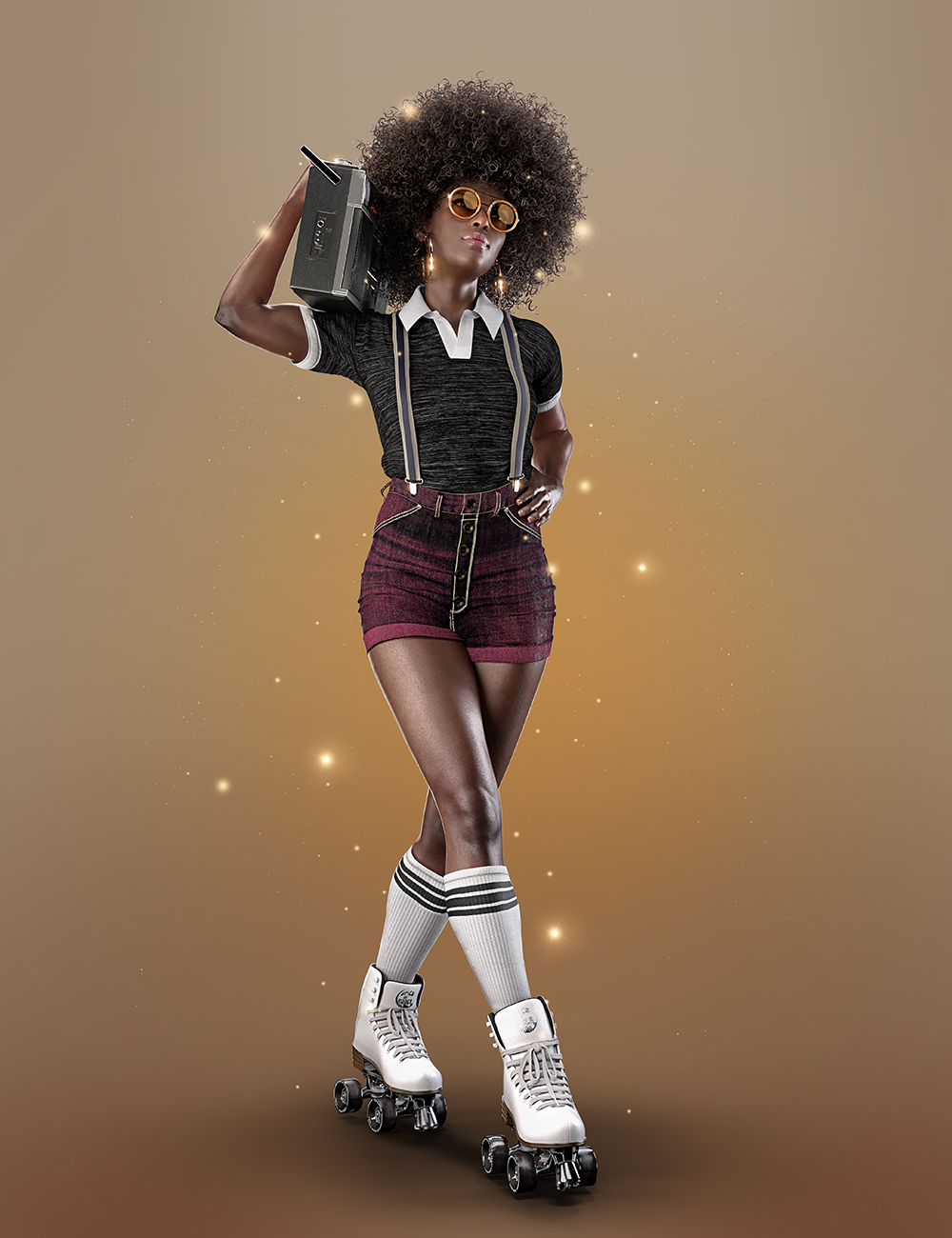AJC Boogie Roller Girl Outfit and Boombox for Genesis 8 and 8.1 Females by: adeilsonjc, 3D Models by Daz 3D