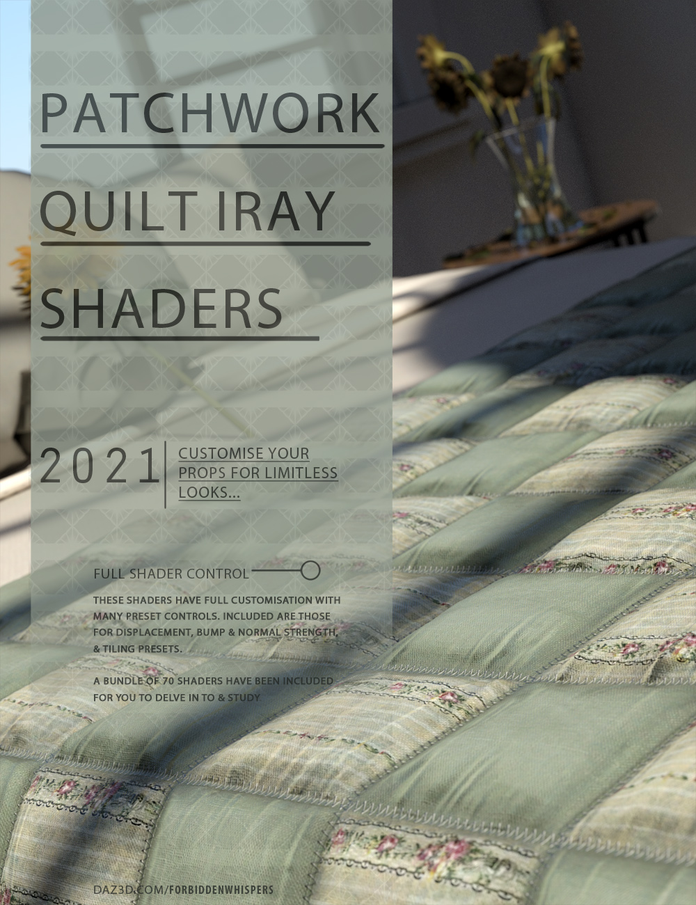 Patchwork Quilt Iray Shaders by: ForbiddenWhispers, 3D Models by Daz 3D