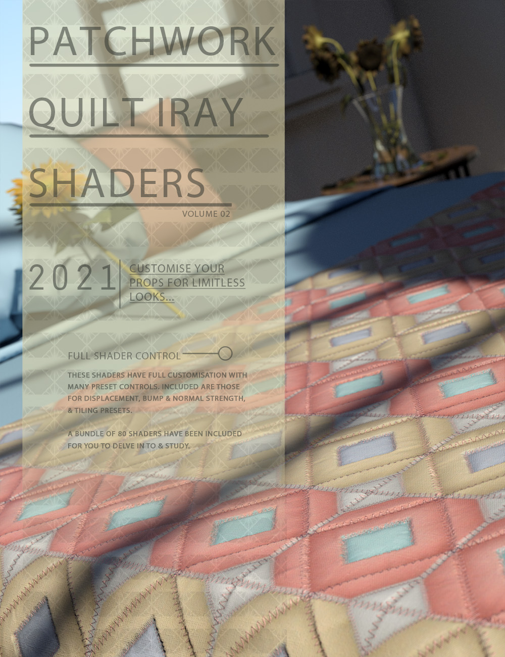 Patchwork Quilt Iray Shaders Vol 2 by: ForbiddenWhispers, 3D Models by Daz 3D