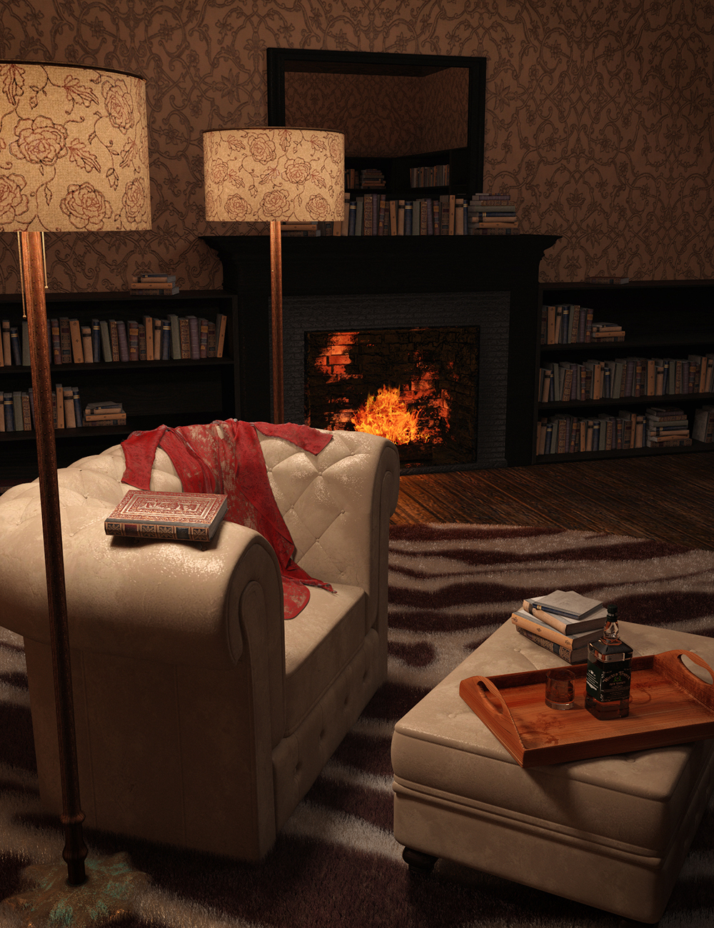 Perfect Pinups: Film Noir Sitting Room by: Skyewolf, 3D Models by Daz 3D