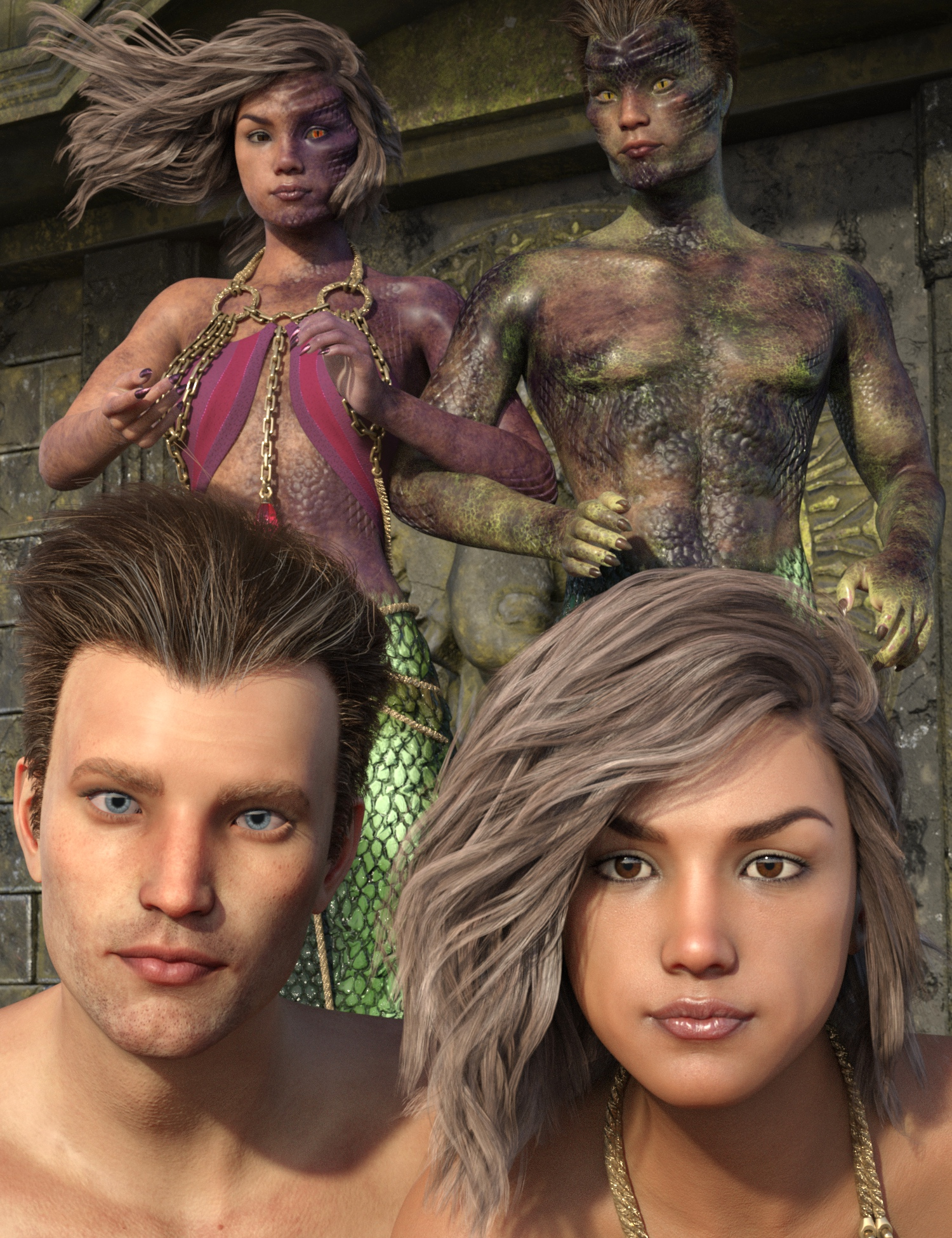 Lamia Mania - Genesis 8 Faces and Lamia Top Skin by: 3D-GHDesign, 3D Models by Daz 3D