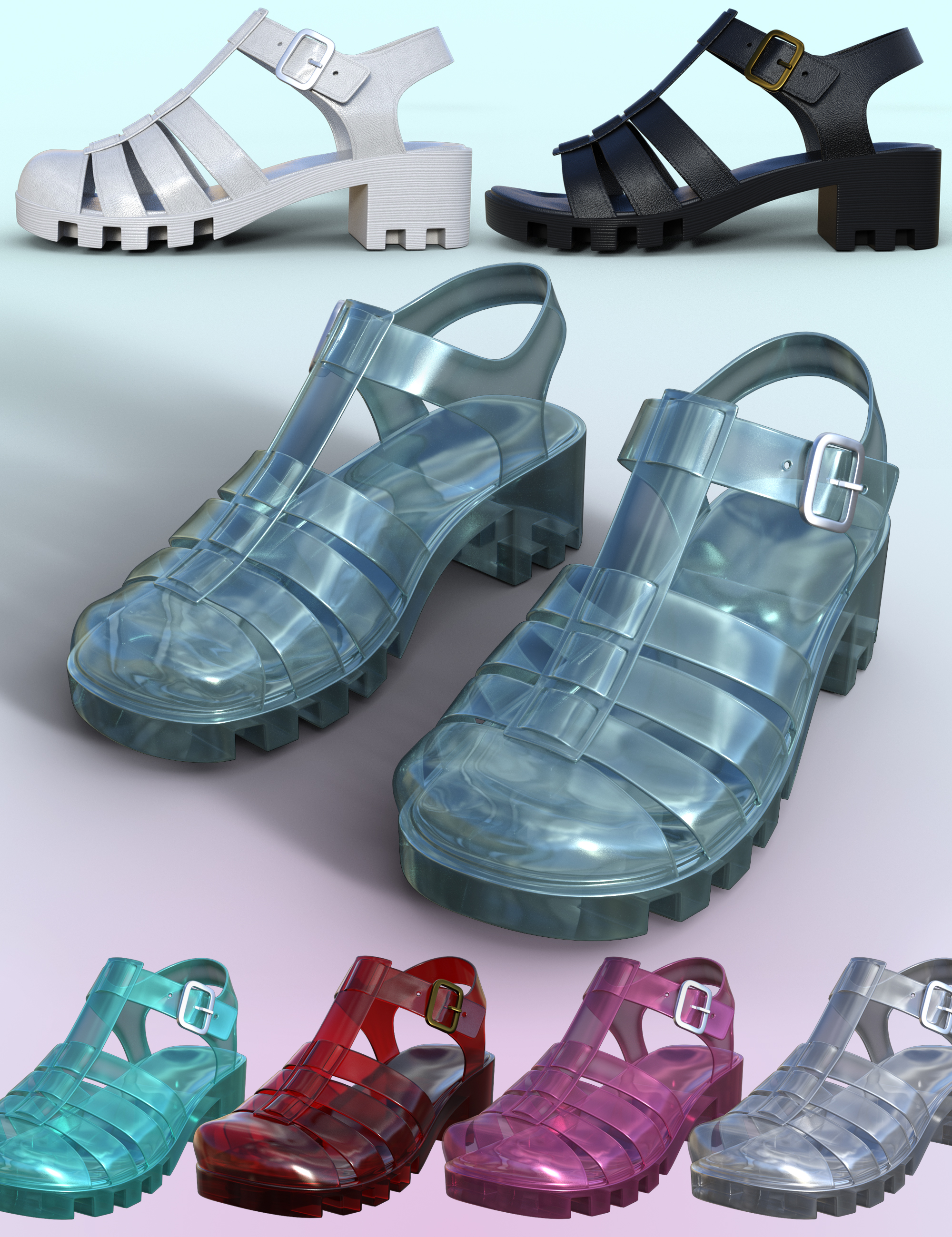 90's Jelly Sandals for Genesis 8 Females by: Dogz, 3D Models by Daz 3D