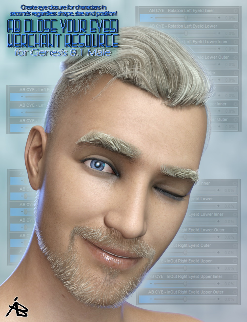 AB Close Your Eyes! for Genesis 8.1 Male (MR) by: AuraBianca, 3D Models by Daz 3D