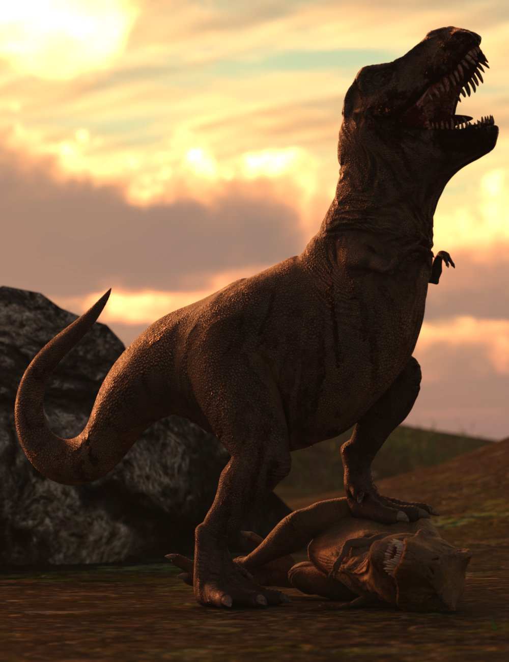 Jurassic Hierarchical Poses for Rex HD by: Ensary, 3D Models by Daz 3D
