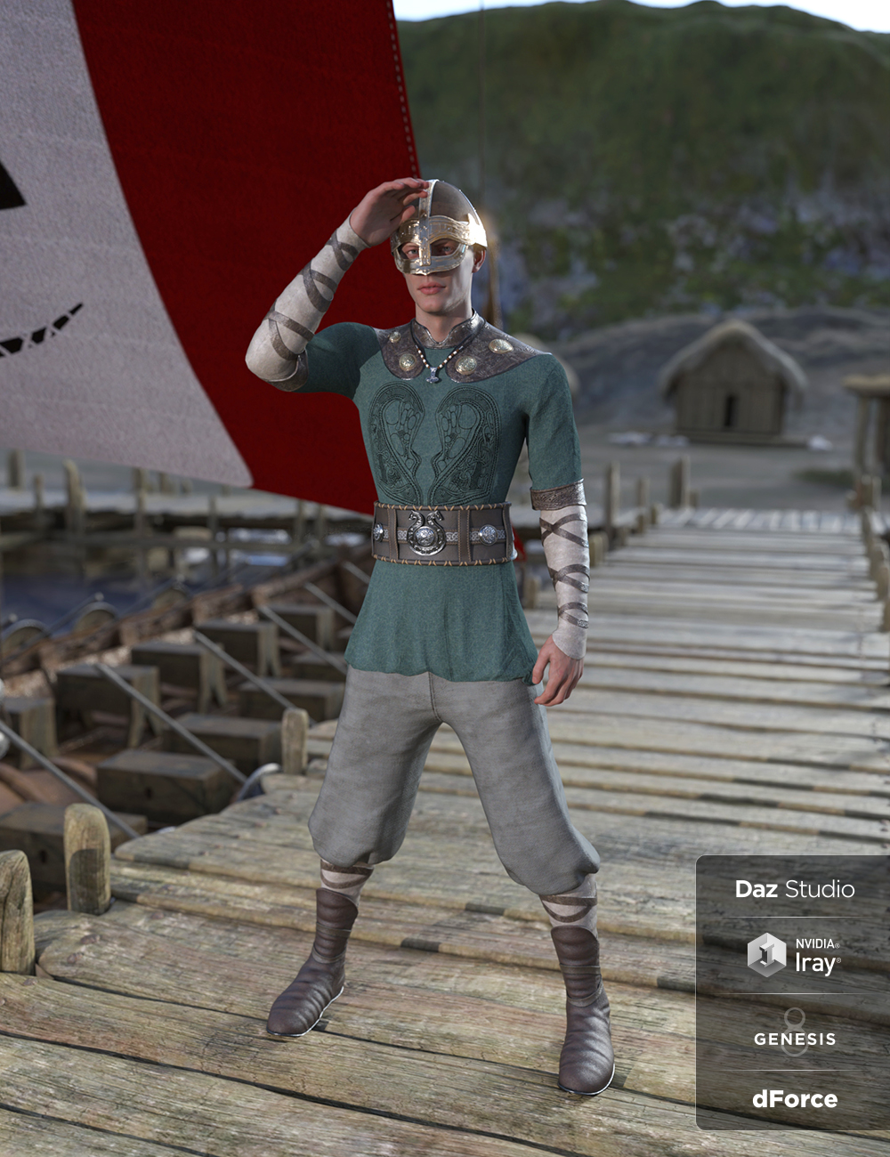 dForce Viking Commoner Outfit for Genesis 8 and Genesis 8.1 Males by: Cichy3D, 3D Models by Daz 3D